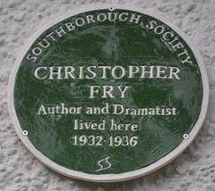 Photo of Christopher Fry green plaque