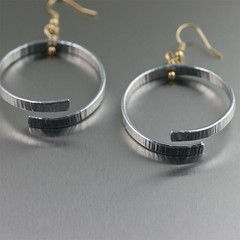 Chased Aluminum Hoop Earrings - Detail