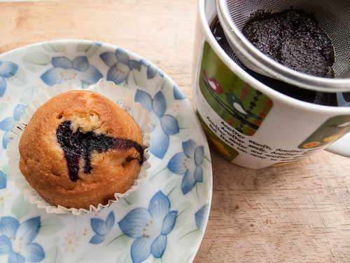 007 Breakfast : Blueberry muffin and coffee