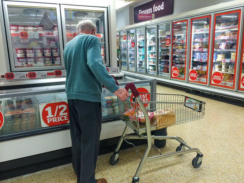 Dad shopping in Sainsburys