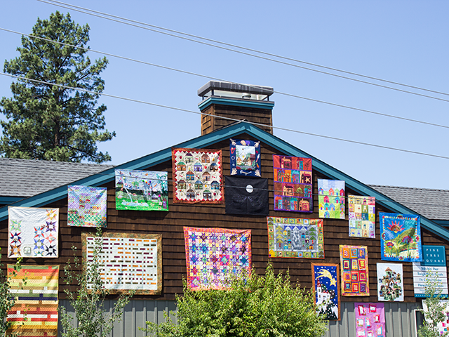 building covered with quilts in Sisters, Oregon