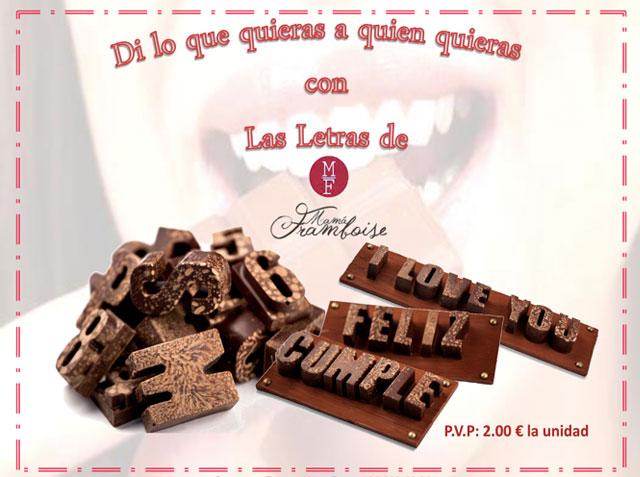 Mamá Framboise, letras de chocolate