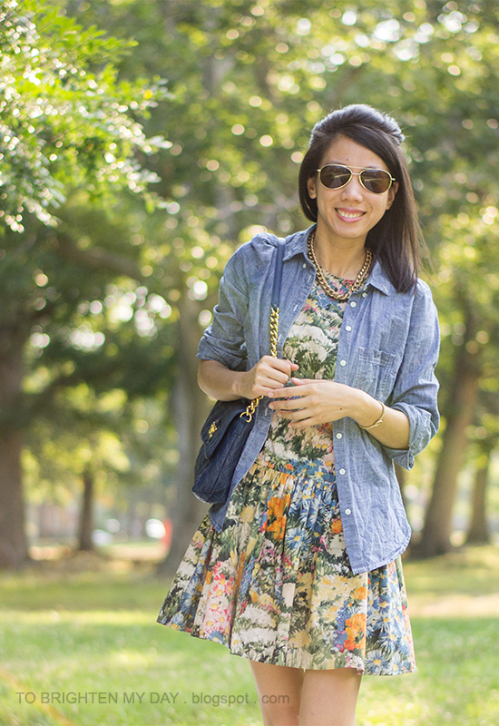 chambray shirt, wildflower printed dress, blue bag, bow ballet flats