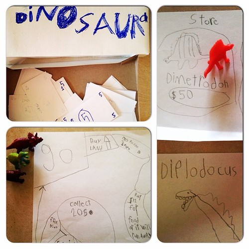 Finn has created a new board game for us to play. It's called (surprise, surprise) Dinosaura.