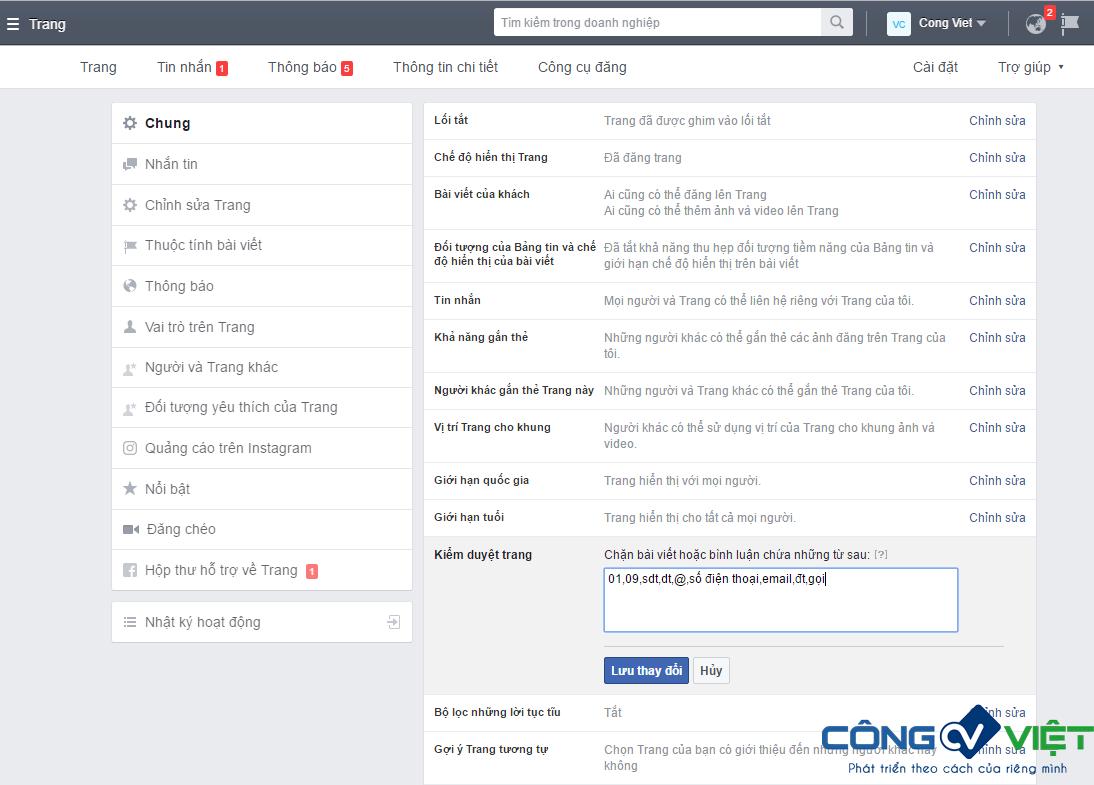 Ẩn comment Facebook chứa số điện thoại của khách