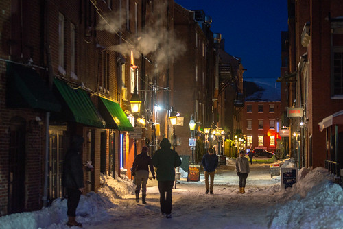 city maine newengland night oldport other portland portlandmaine wharfstreet winter unitedstates