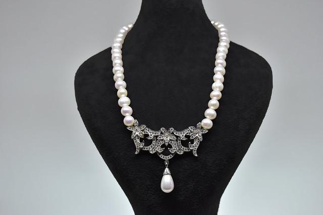 Ahsen 925K Gümüş Taşlı Klipsli Doğal Beyaz İnci Kolye-AH-00018