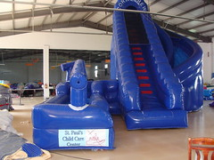 Blue inflatable double land water slide-03