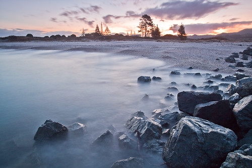 sunset newzealand beach rocks waves dusk auckland omahabeach matakana