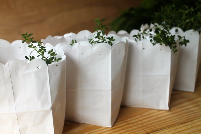 May Day Baskets made from white paper lunch bags