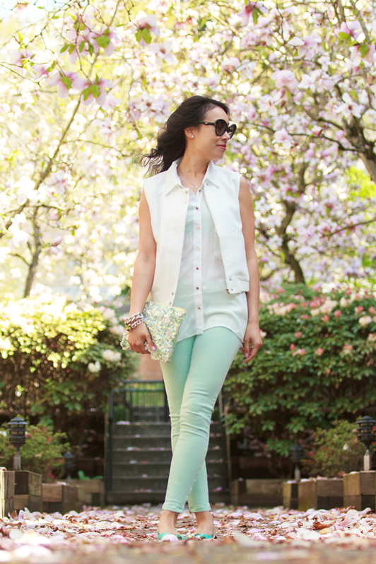 HRH Collection Mod Vest, HRH Collection Zippy Top, Zara mint skinny jeans, Zara mint green sequin clutch, HRH Collection London Calling bracelet, HRH Collection Flawless Diamond bracelet, spring, fashion, blogger, Vancouver