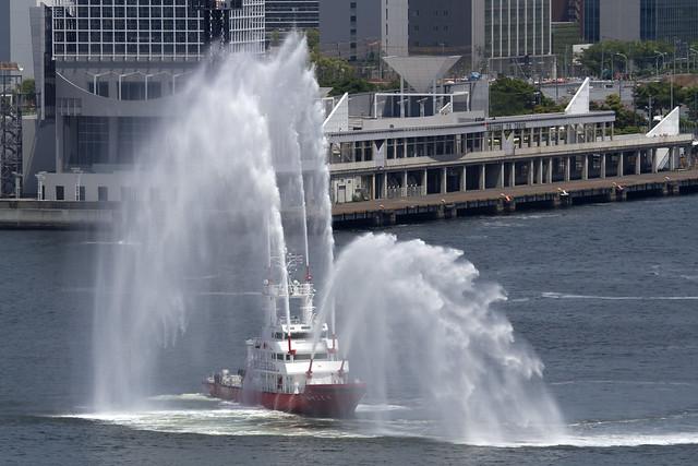 水の消防ページェント予行