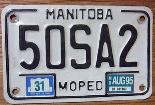 MANITOBA 1995 ---MOPED LICENSE PLATE