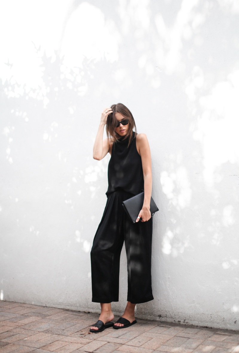 modern legacy blog street style culottes crop wide leg pants Camilla and Marc high neck assent funnel top all black outfit Alexander Wang bag Prisma envelope clutch slide sandals spring summer (2 of 16)