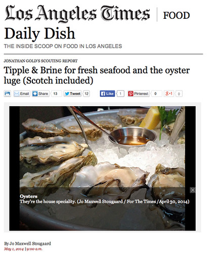 My Tipple & Brine scouting report for Jonathan Gold, L.A. Times (5/1/14)