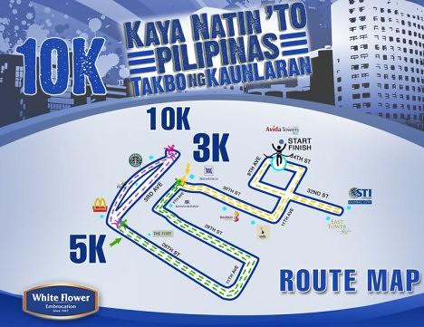 White Flower Run map 10k