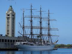Tall Ships and Aloha Tower in Honolulu Harbor James Brennan Molokai Hawaii