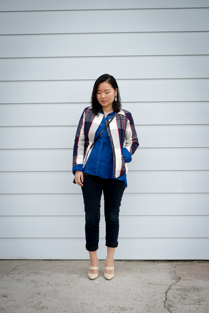 target checked blazer, express star blouse