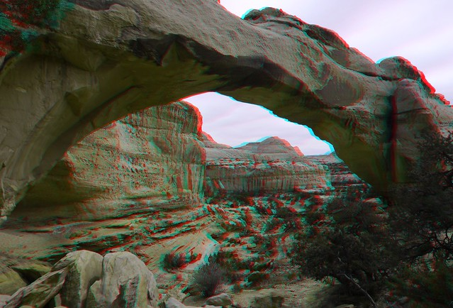 Natural Bridge, wide, red/cyan anaglyph