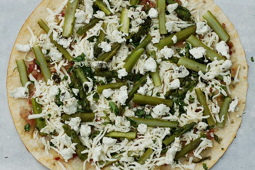 Bacon Asparagus Pizza about to go into the oven by Eve Fox, the Garden of Eating blog, copyright 2014