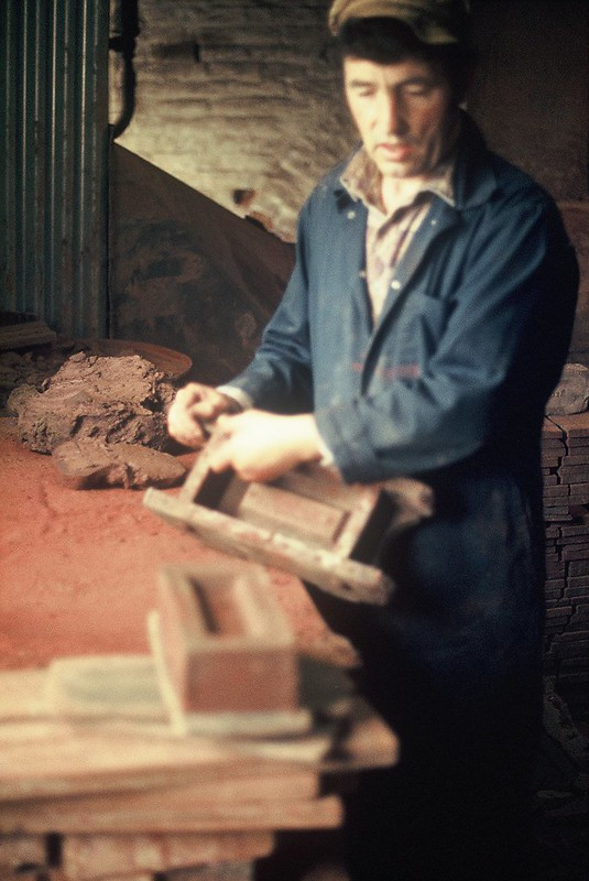 Last brick being made - turned on bat. Crowle Brickworks