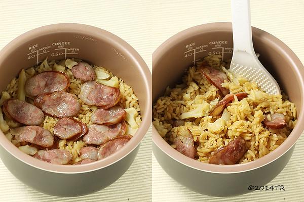 用電子鍋做臘腸花椰菜炊飯、起司蘑菇焗飯、番茄肉醬麵-20140524