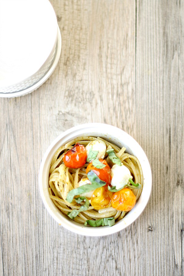 caprese linguine with pesto and blistered tomatoes