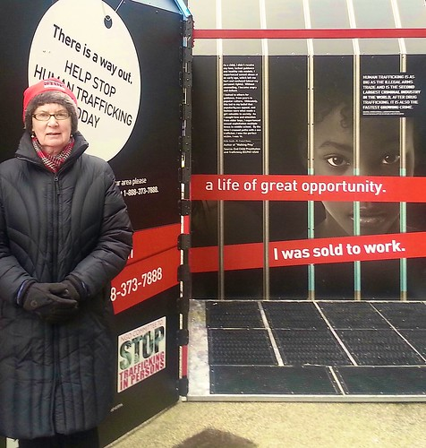 Michele Harnett SSL spent 3.5 hours each day over a few days in January and February in one of these GIFT boxes in NY. As a volunteer, she helped increase awareness of the problem of global trafficking