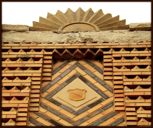 Detail: Art Deco Roofline, Sunburst and Pattern Brick, East Jefferson Avenue--Detroit MI
