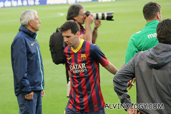 Messi taking his leave after the game