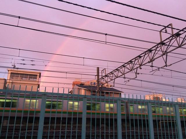 iPhone5sで撮影 虹と夕焼け 2014年7月11日