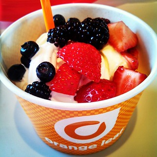 Yumo! #OrangeLeaf just opened here! Delish!!! #pineapple #mango #coconut with #strawberries #blueberries #blackberries #frozenyogurt