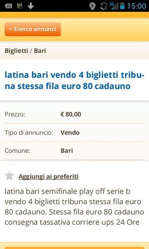 Biglietti rivenduti ad 80 euro l'uno per Latina-Bari!