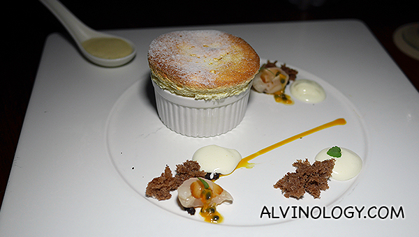 Passion Fruit Souffle, Milk Chocolate, Basil, Soil