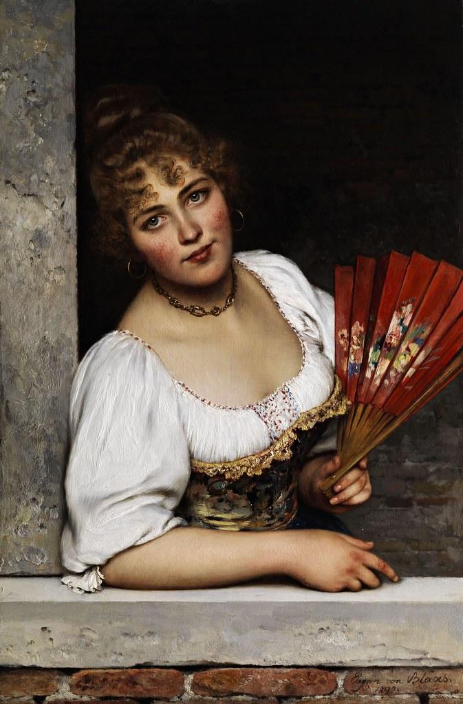 Eugen von Blaas - Der rote Fächer (1892)