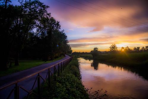 tramonto natura acqua naviglio ciclabile percorso cernusco vivida