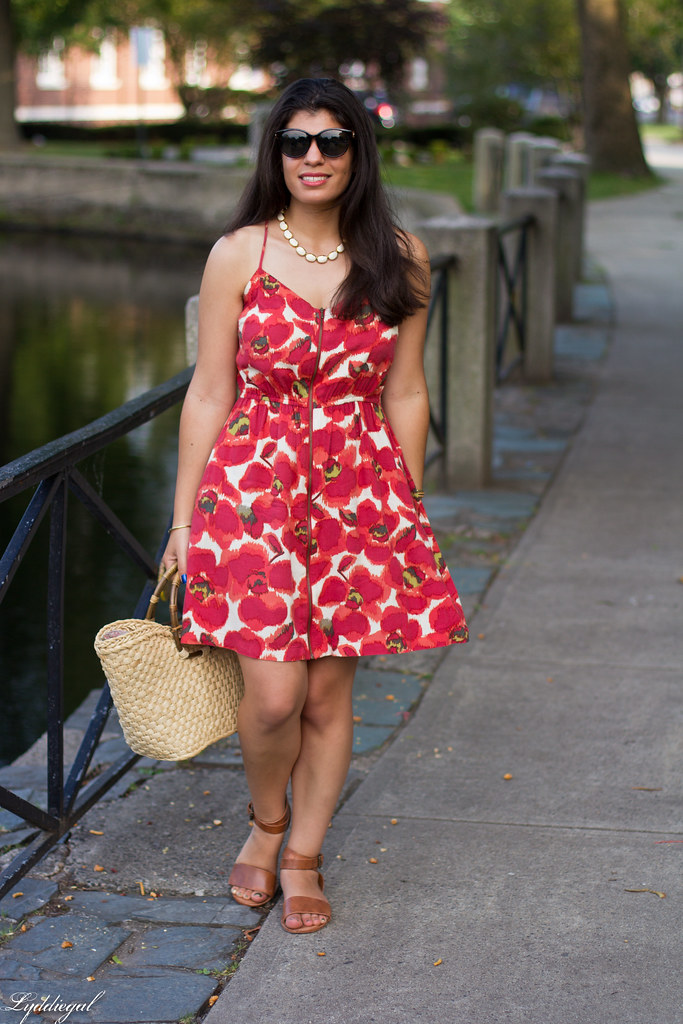 red floral dress, straw bag-1.jpg