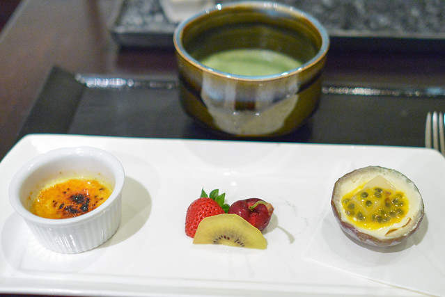 mizumono passion fruit, coconut gelee, vanilla ice cream, seasonal fruit, black sesame creme brulee