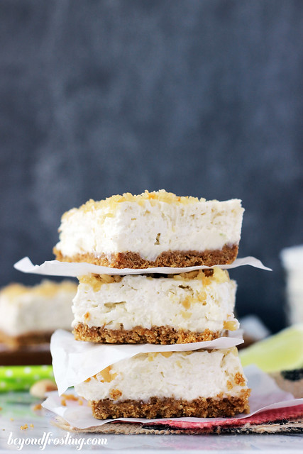 No-Bake Coconut Lime Cheesecake Bars | beyondfrosting.com |#coconutlime