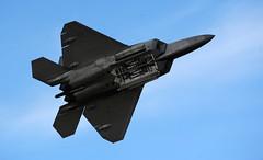 lockheed sr-71 blackbird(0.0), sukhoi su-35bm(0.0), lockheed martin f-35 lightning ii(0.0), mcdonnell douglas f-15 eagle(0.0), dassault rafale(0.0), lockheed martin f-22 raptor(1.0), aviation(1.0), airplane(1.0), wing(1.0), vehicle(1.0), fighter aircraft(1.0), jet aircraft(1.0), flight(1.0), aircraft engine(1.0), air force(1.0),