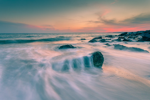 water beach sea wave evening light colors ocean rocks sky clouds wash