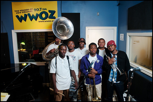Edna Karr High School Brass Band at WWOZ:  Nicholas Nooks (tuba), Charles Williams (snare), Brendan Smith (trumpet), Deon Butler (trumpet), Desmond Bemiss (trombone), Aaron Brimmer (bass drum), Bradley Louis Smith. Photo by Ryan Hodgson-Rigsbee www.rhrpho