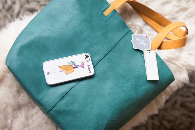cute & little blog | HMK southlake town square feature | custom iphone case, taleen sea green leather tote