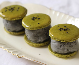 Matcha black sesame macaron ice cream sandwiches