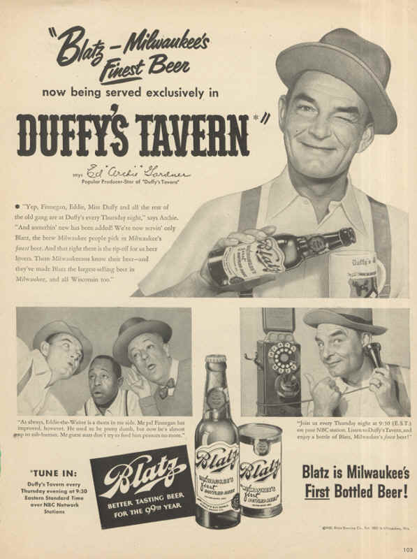 1950-Blatz-Milwaukees-Finest-Beer-now-being-served-exclusively-in-Duffys-Tavern