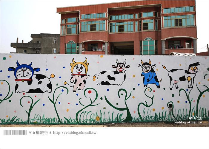 【彰化景點推薦】乳牛彩繪村(福寶村)~數百頭彩色小牛+夢幻藍晒圖的彩色村10