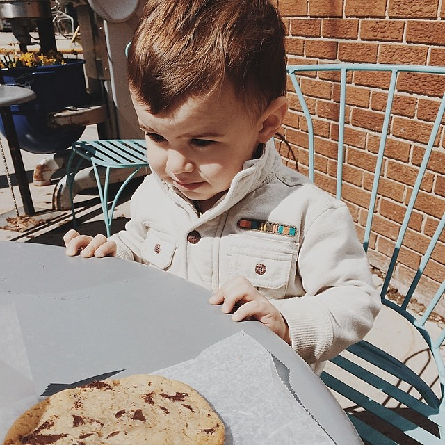 Post-thrifting reward/impromptu cookie date with this handsome fella. @batchbakehouse  #sunnyday #instaluther #toddler #cookie