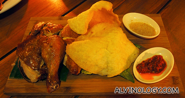 Blue Bali Crispy Roasted Chicken (S$25) - Crispy & Juicy Chicken Marinated with Aromatic Chinese Spices served with Prawn Crackers.