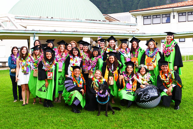 "<p>Twenty-two Windward CC Vet Tech graduates stand proudly with Director John Kaya, instructor Sam Craddock and dog Abbey at Windward CC's commencement ceremony on May 17, 2014. Photo by Bonnie Beatson<br /> <br /> For more photos go to <a href=""https://www.facebook.com/buddy.aloha/media_set?set=a.597700886995993.1073741831.100002682609200"" rel=""nofollow"">www.facebook.com/buddy.aloha/media_set?set=a.597700886995...</a></p>"