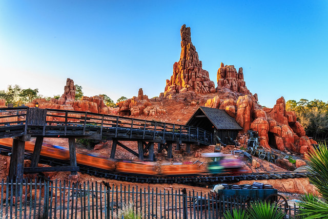 The Train Zooms By on Big Thunder Mountain Railroad